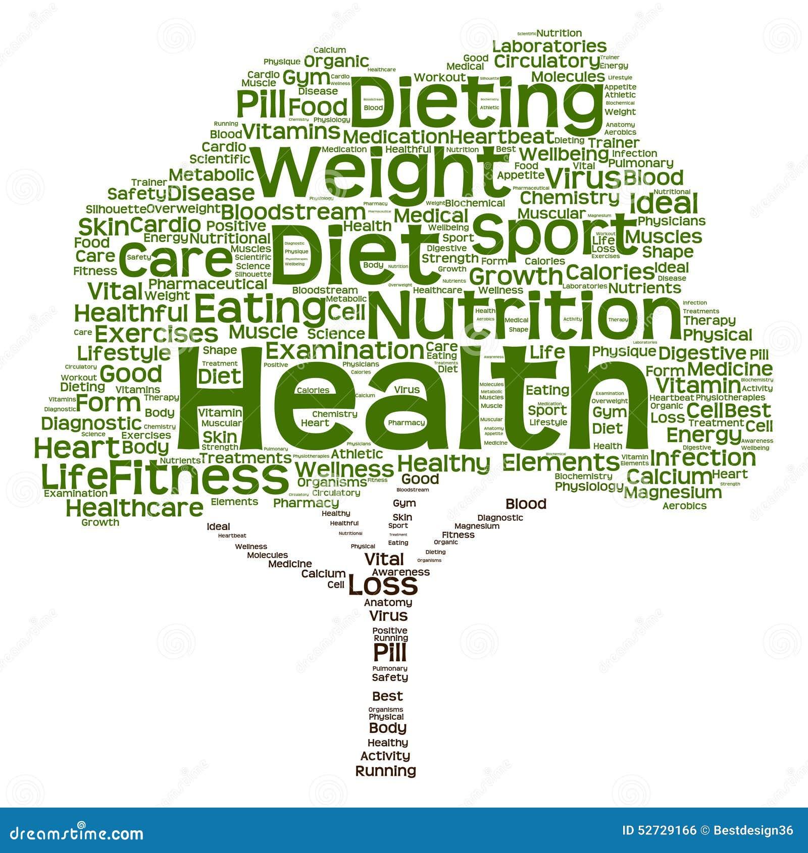 Conceptual Health Or Diet Tree Word Cloud Stock Vector ...