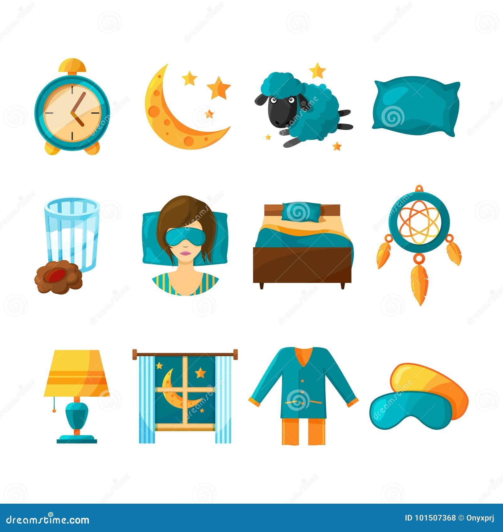 Conceptual Icon Set Of Sleeping Vector Symbols Of Healthy Sleep