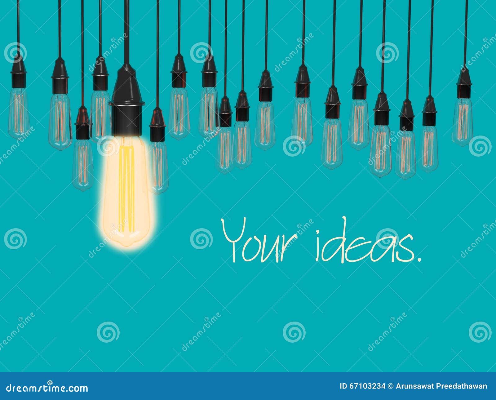 Conceptual idea of light bulbs hang on lite blue color background.