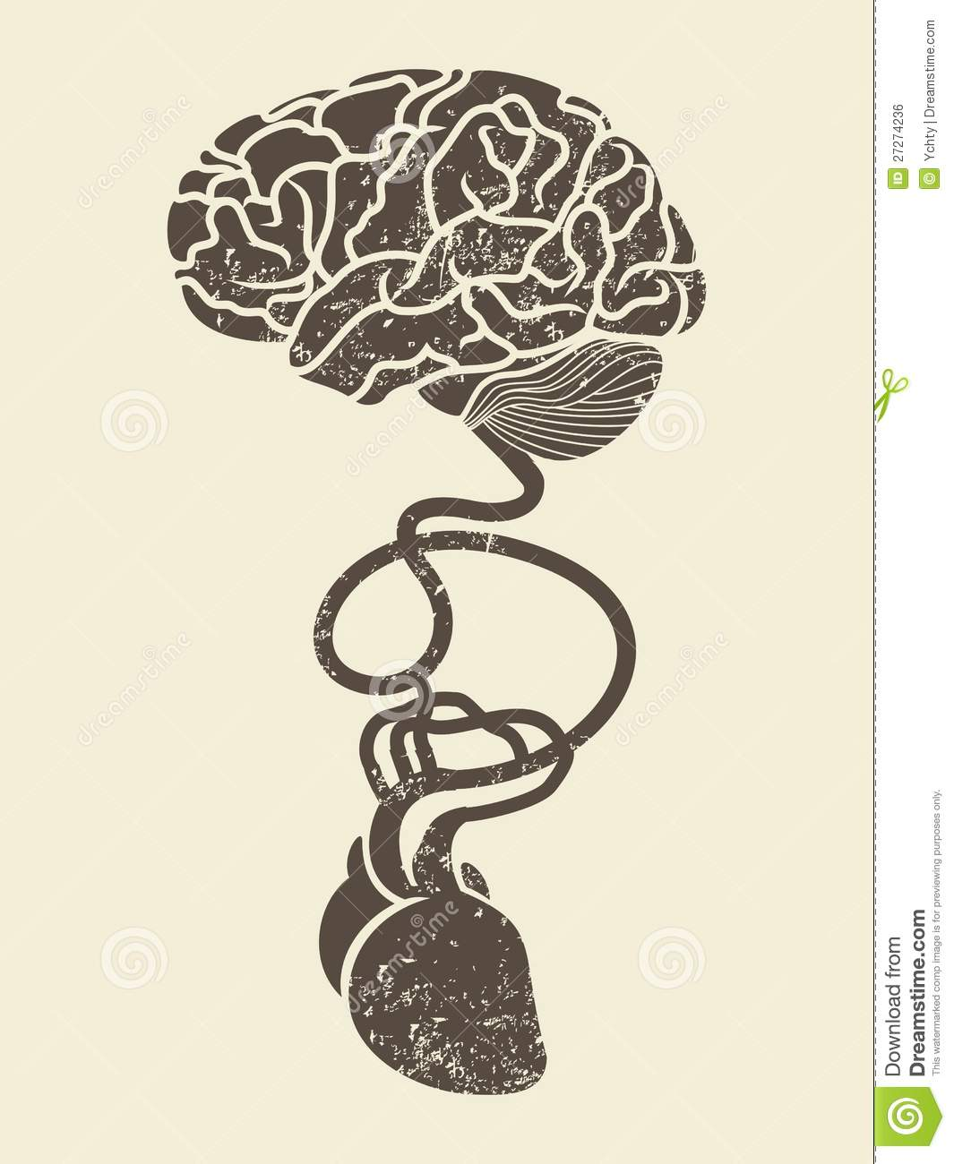 Conceptual image of brain and heart connected toge