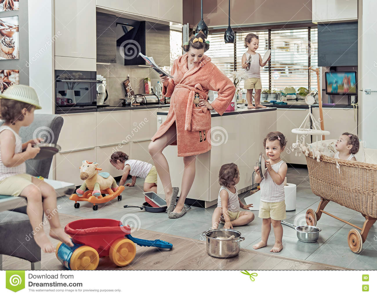 conceptual image of exhausted mom with her misbehaving