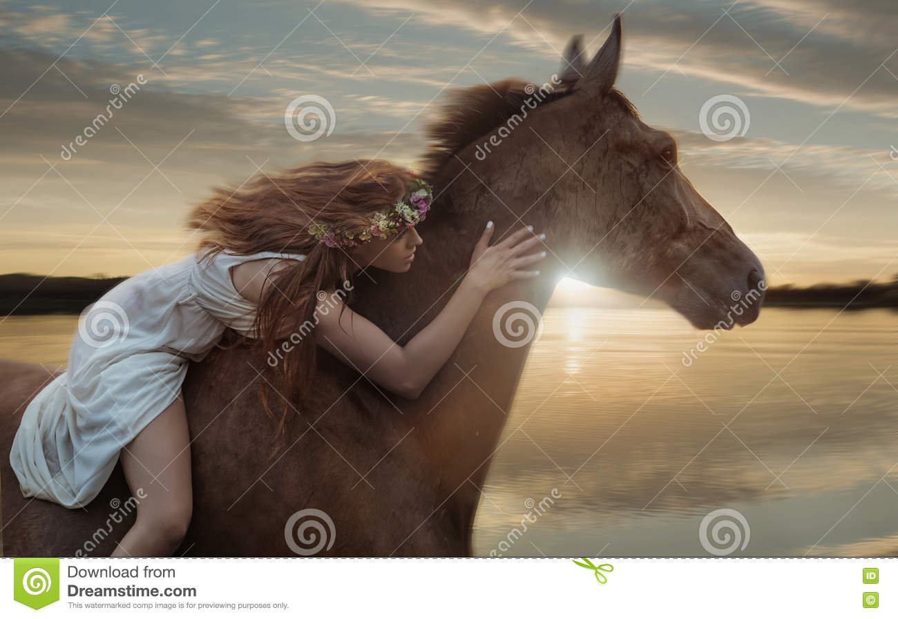 Conceptual image of galloping horse with a horsewoman