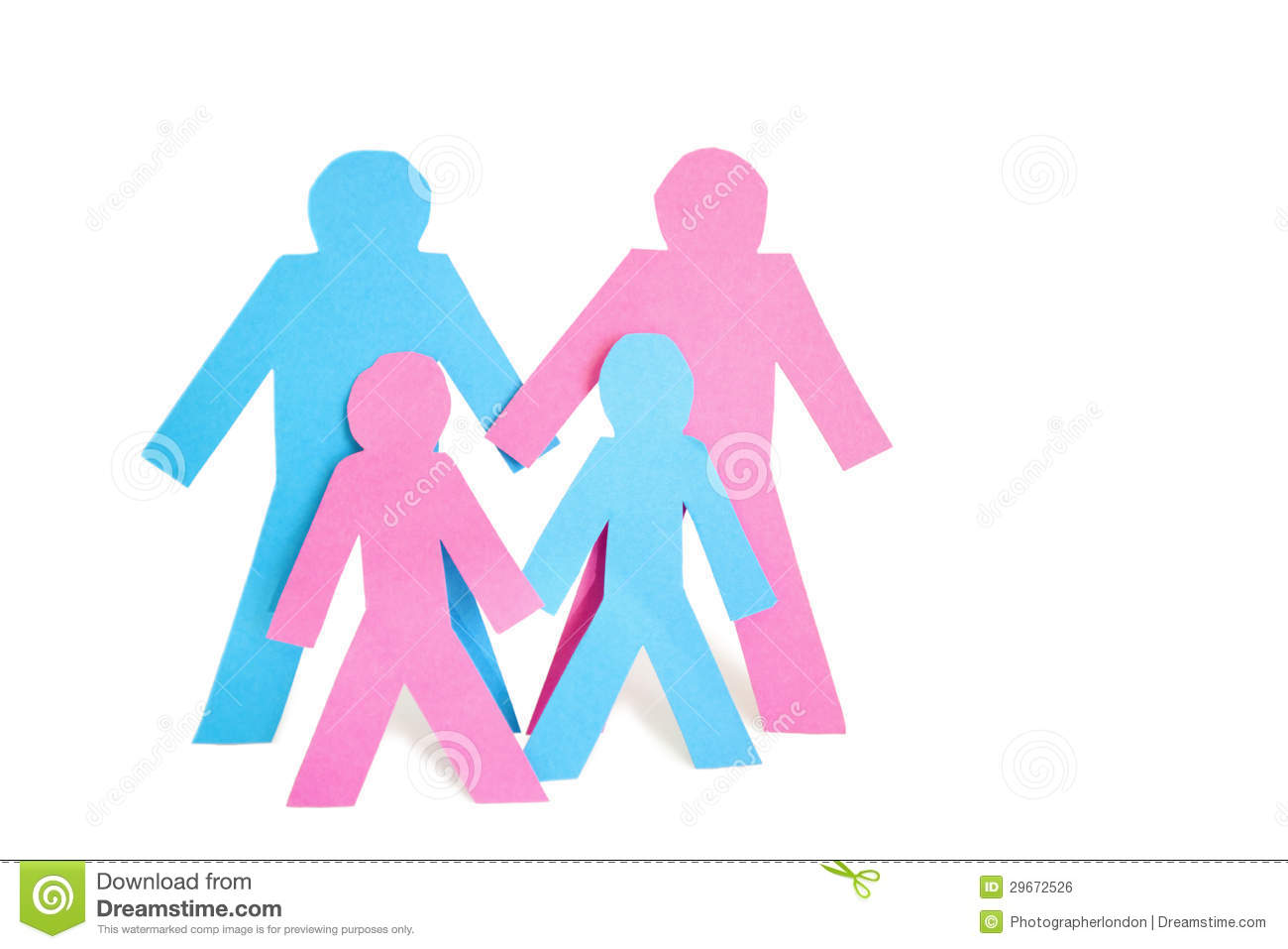 Conceptual image of paper cut outs representing family with two children over white background