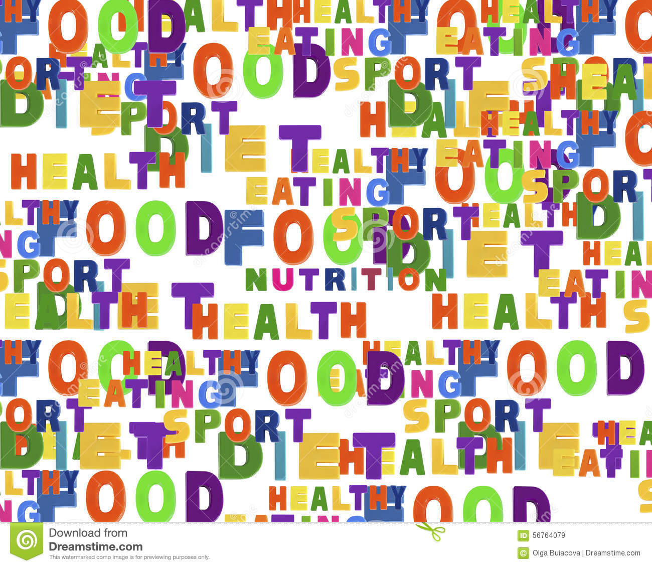 conceptual image of tag cloud containing words related to food