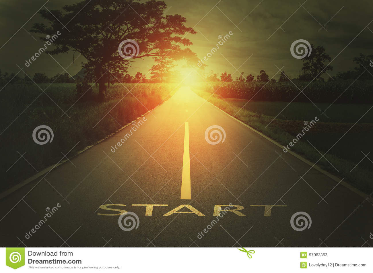 Conceptual image with text word start on asphalt road