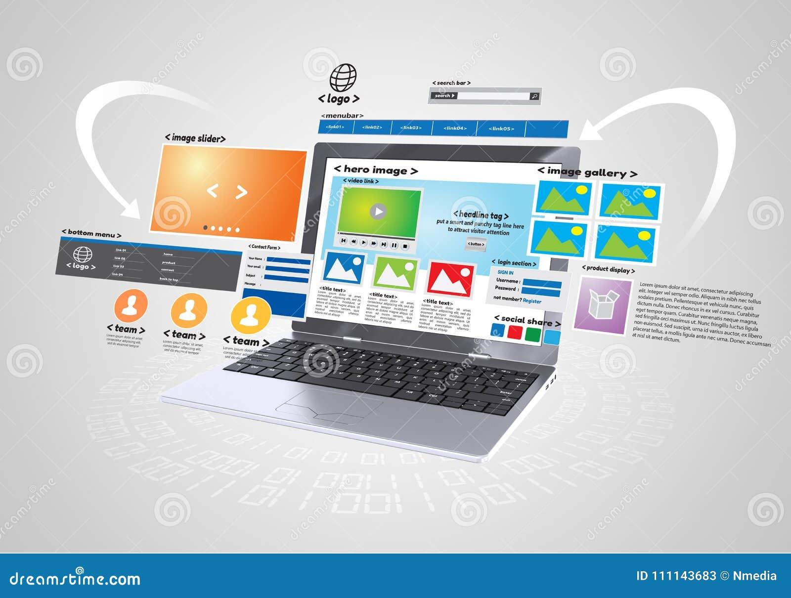 Website Design And Development Project Stock Illustration ...