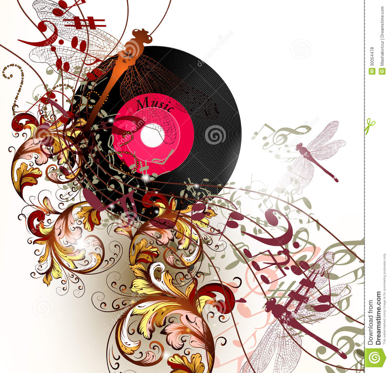 Creative Music Background With Notes And Ornament Royalty ...