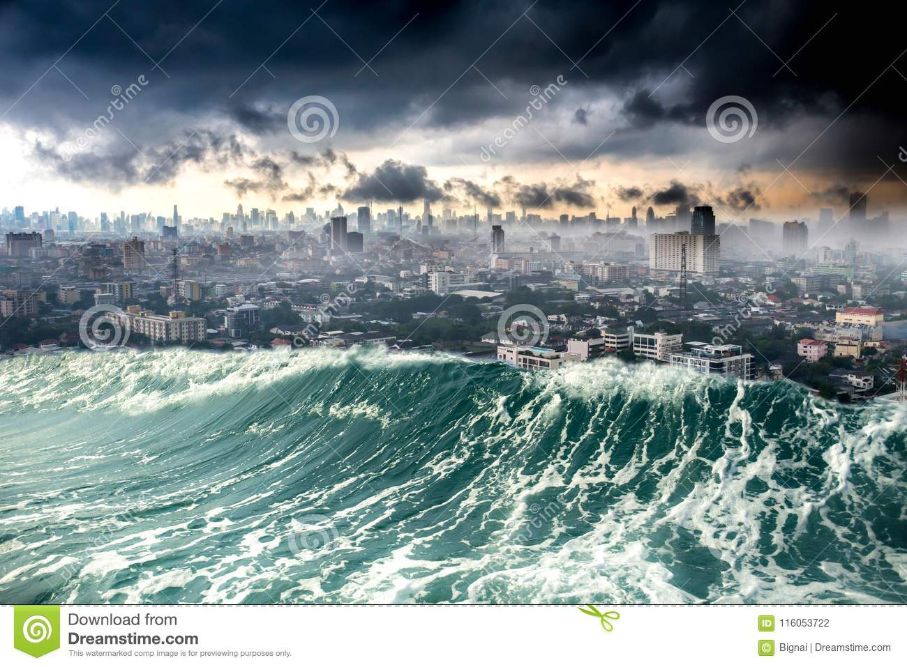 nature disaster city destroyed by tsunami waves stock photo image
