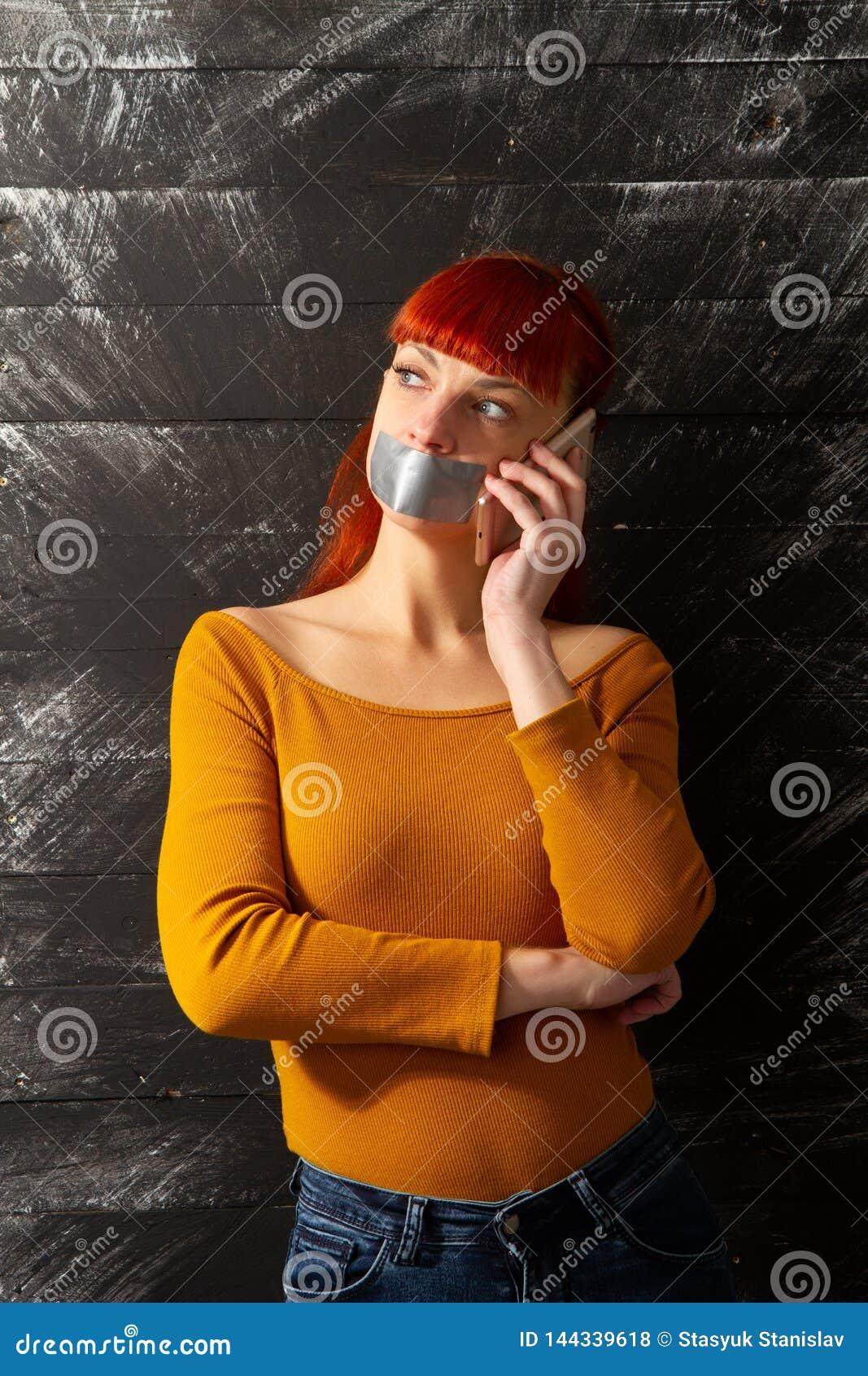 Girl Tape Lips Phone Stock Photo Image Of Lips Hair 144339618