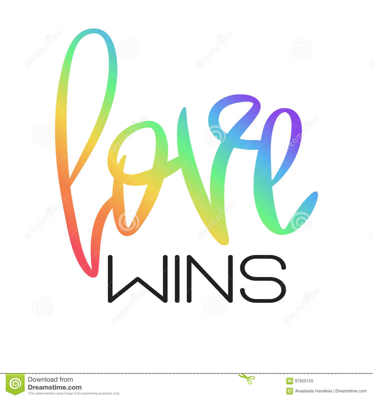 conceptual poster with rainbow lettering stock vector illustration