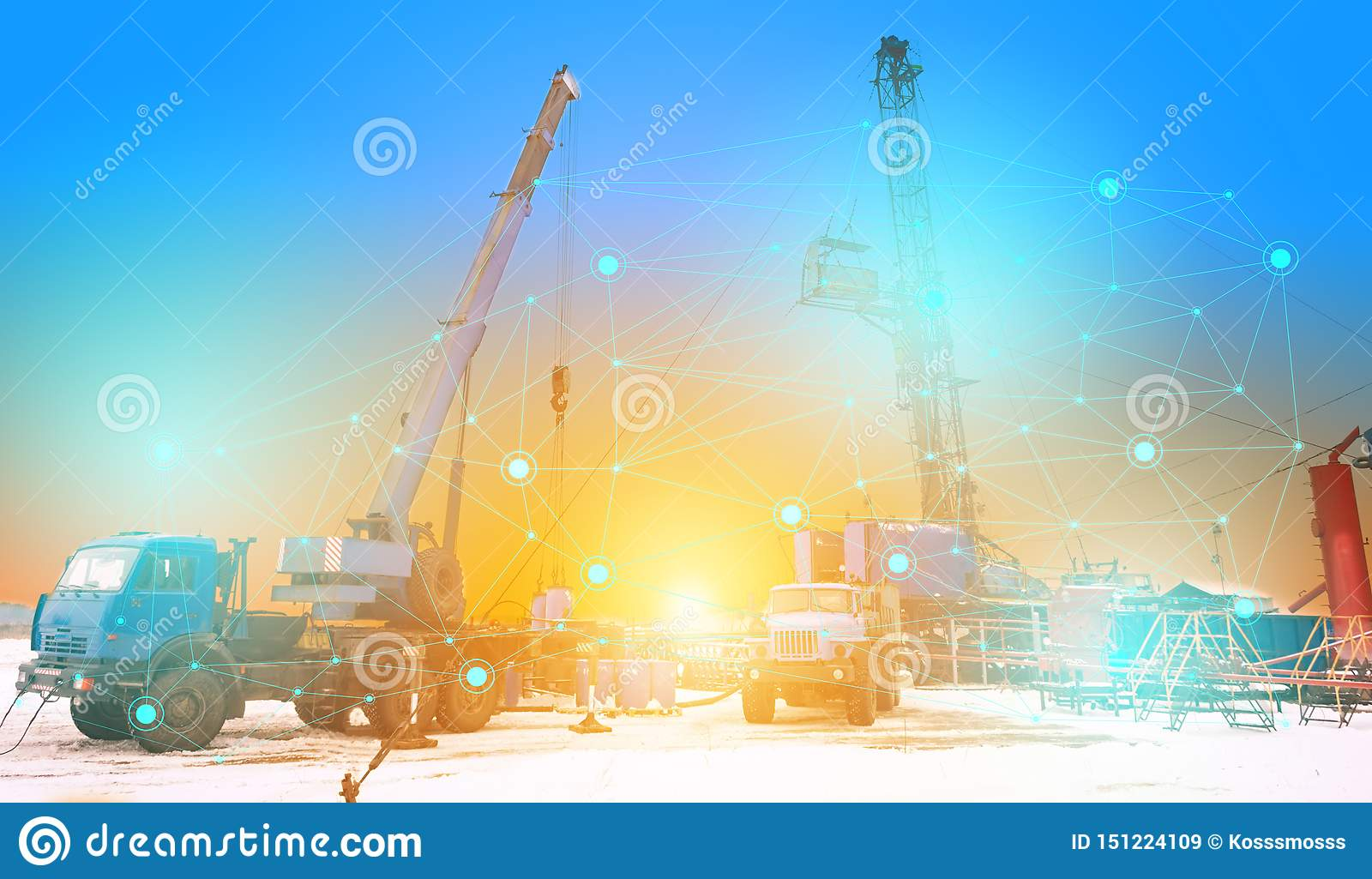 Conceptual representation of the future technologies, the use of artificial intelligence for the overhaul of an oil and gas well,