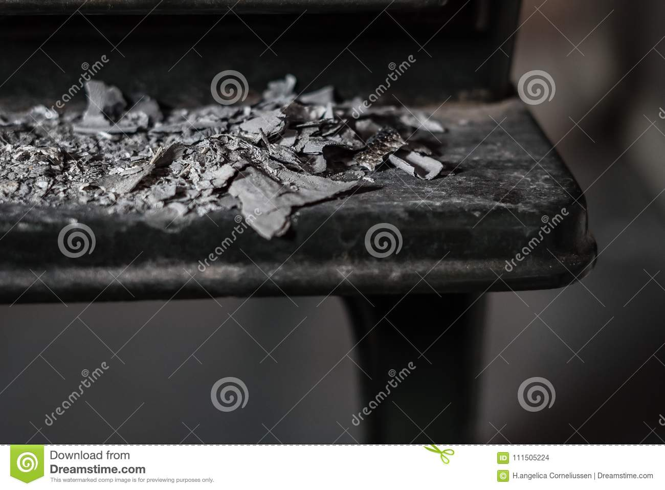 Closeup Front View Of Ashes In Front Of Rough Black Iron Oven Stock
