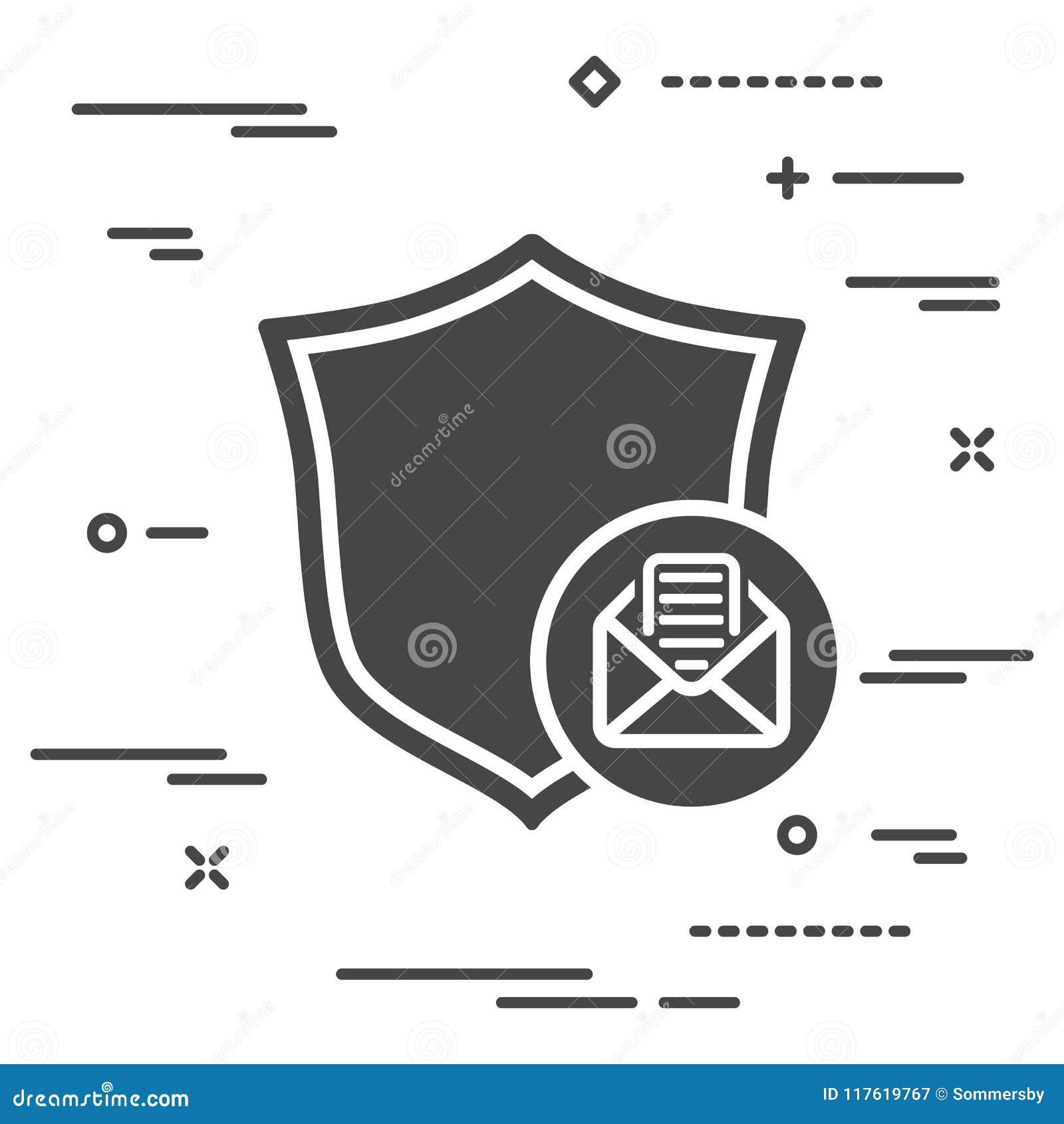 Conceptueel beeld van bescherming van persoonlijke correspondentie door e-m