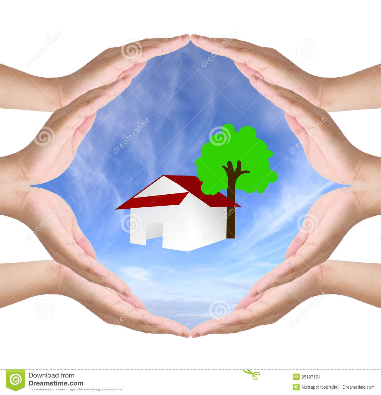 Conceptueel symbool van acht menselijke handen