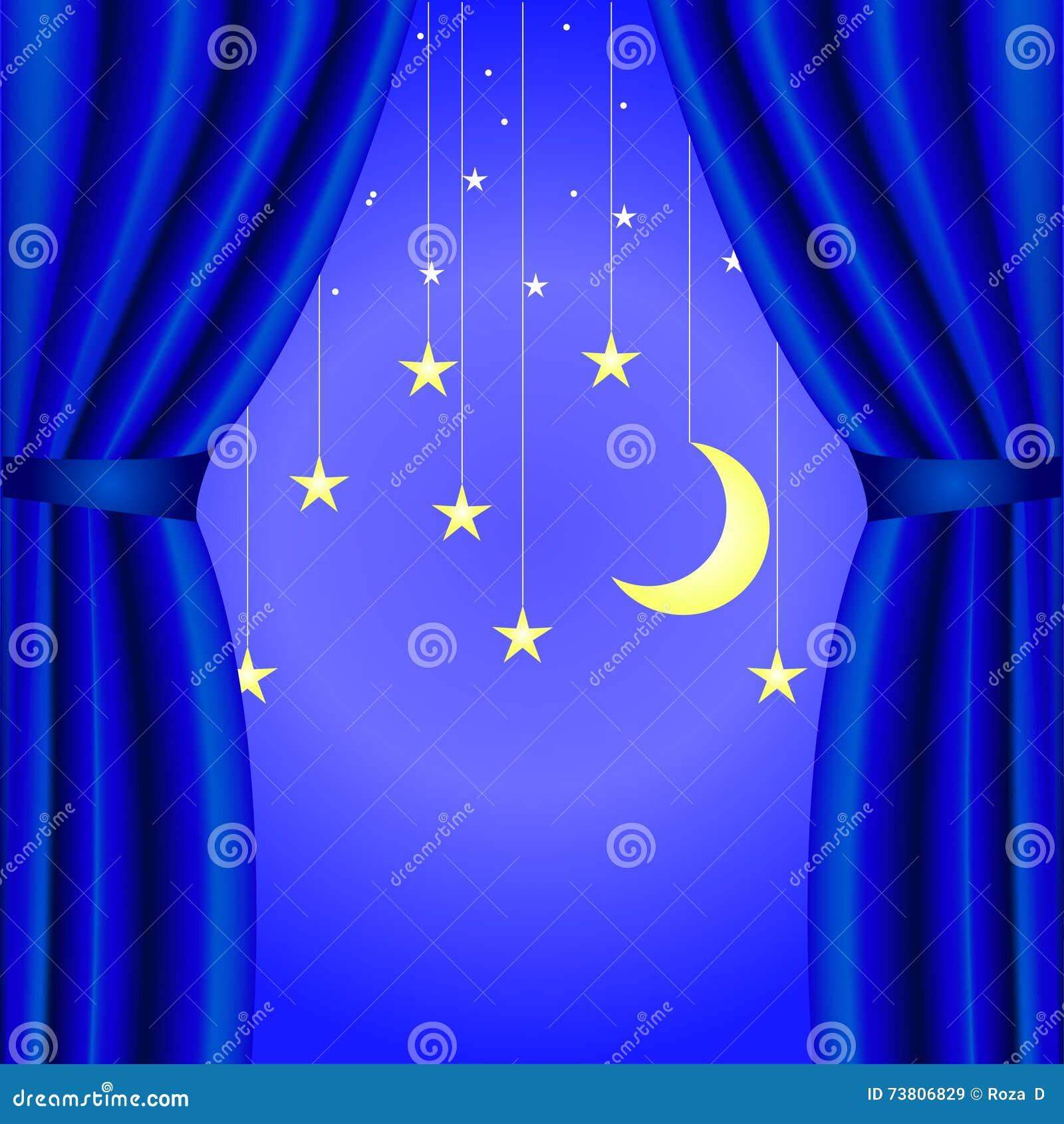 conceptuele achtergrond met blauw gordijn open met een toenemende maan en sterren