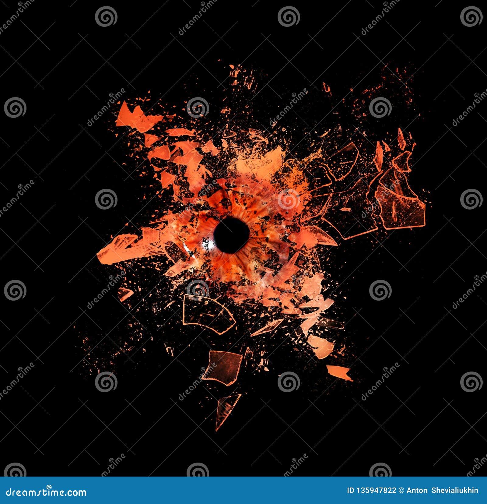 Conceptuele creatieve foto van een menselijke die macro van het oogclose-up die in reepjes van glas breekt op een zwarte achtergr