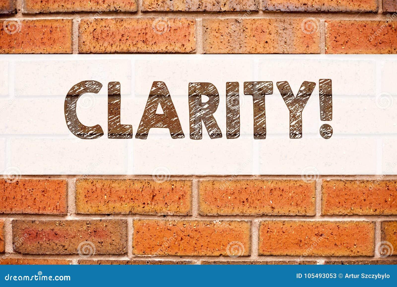 Conceptuele de titelinspiratie die van de aankondigingstekst Duidelijkheid tonen Bedrijfsdieconcepten voor de duidelijkheid Beric
