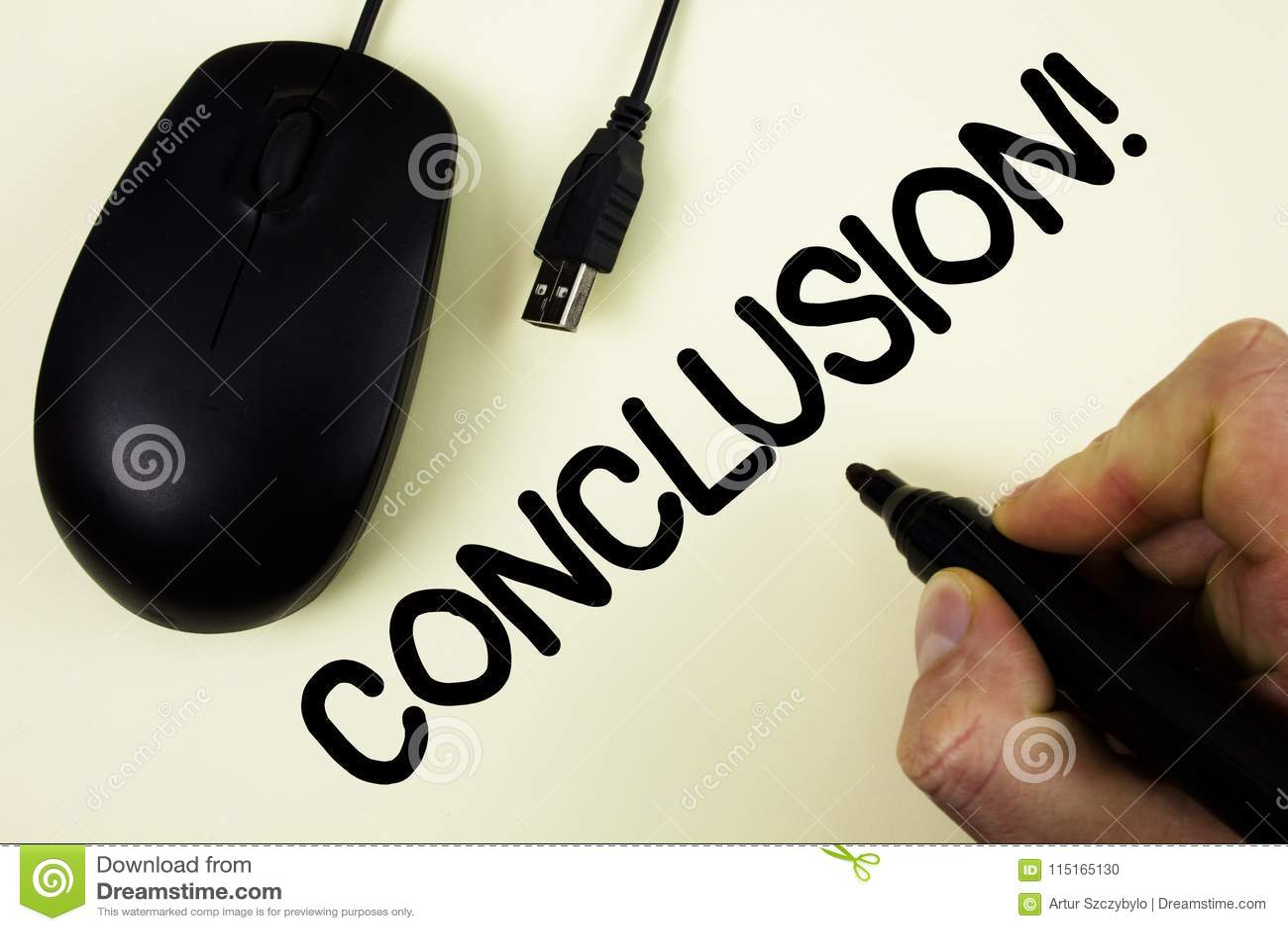 Citaten Schrijven : Conceptuele hand die tonend conclusie motievenvraag schrijven