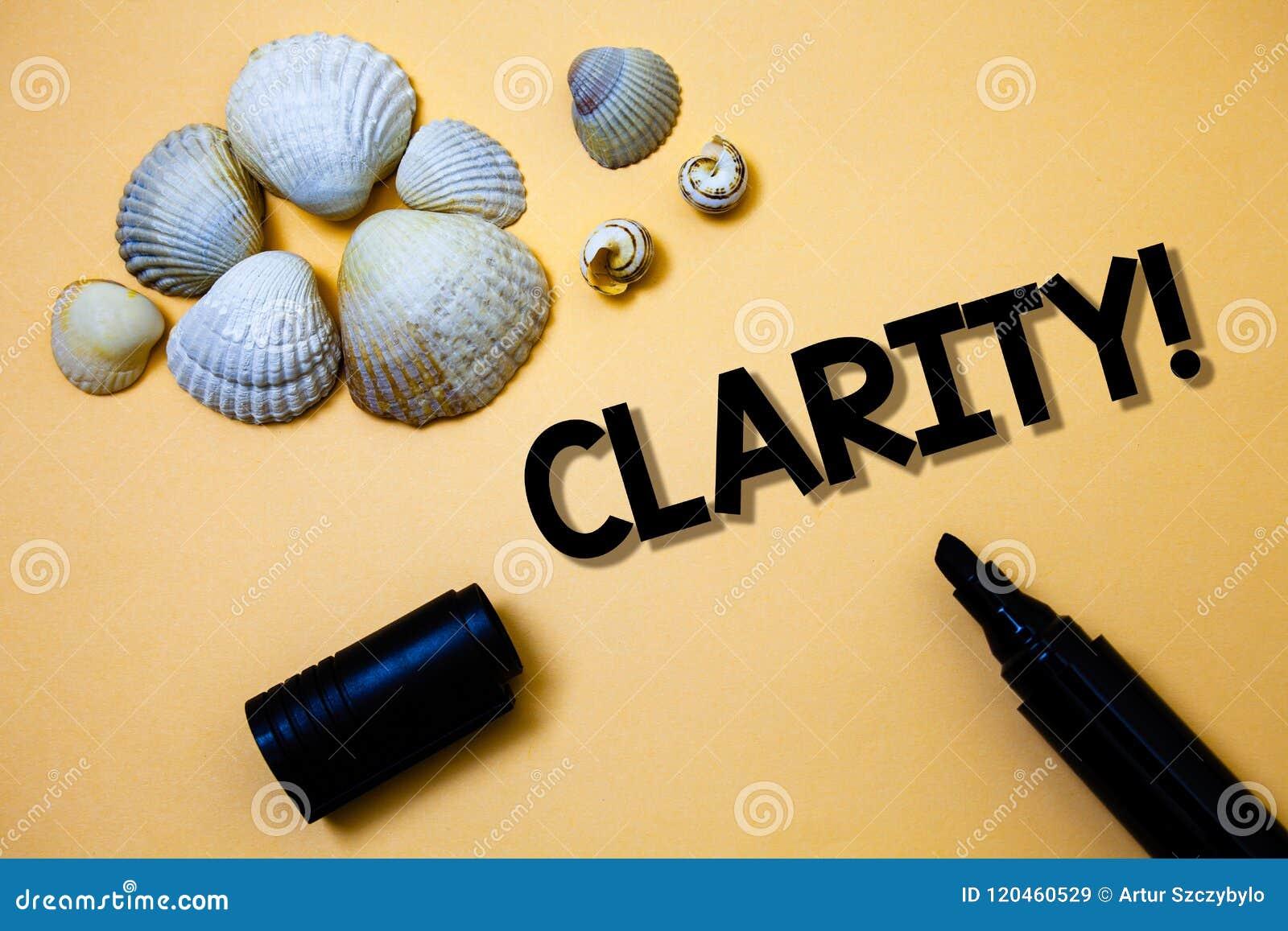Conceptuele hand die tonend Duidelijkheid schrijven Van de de Zekerheidsprecisie van de bedrijfsfototekst van de de Zuiverheidsbe