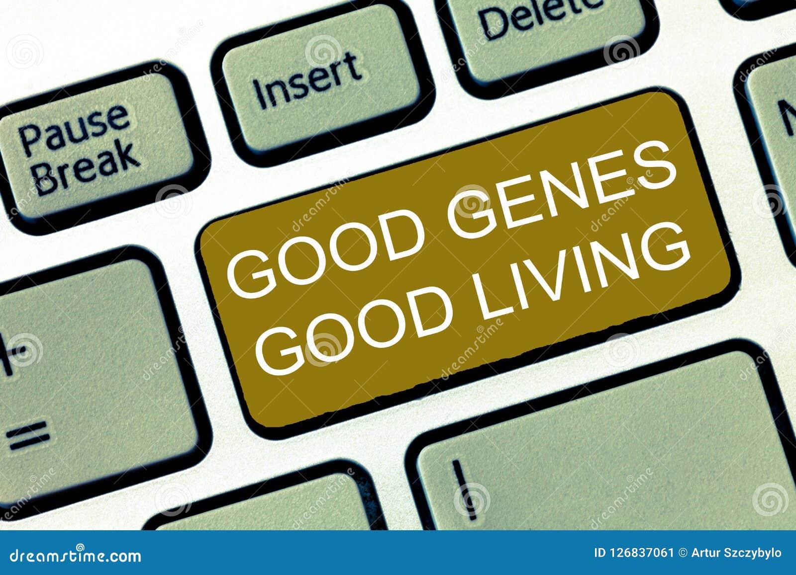 Conceptuele hand die tonend Goede Genen het Goede Leven schrijven Bedrijfsfoto die Geërfte Genetische resultaten in Levensduur Ge