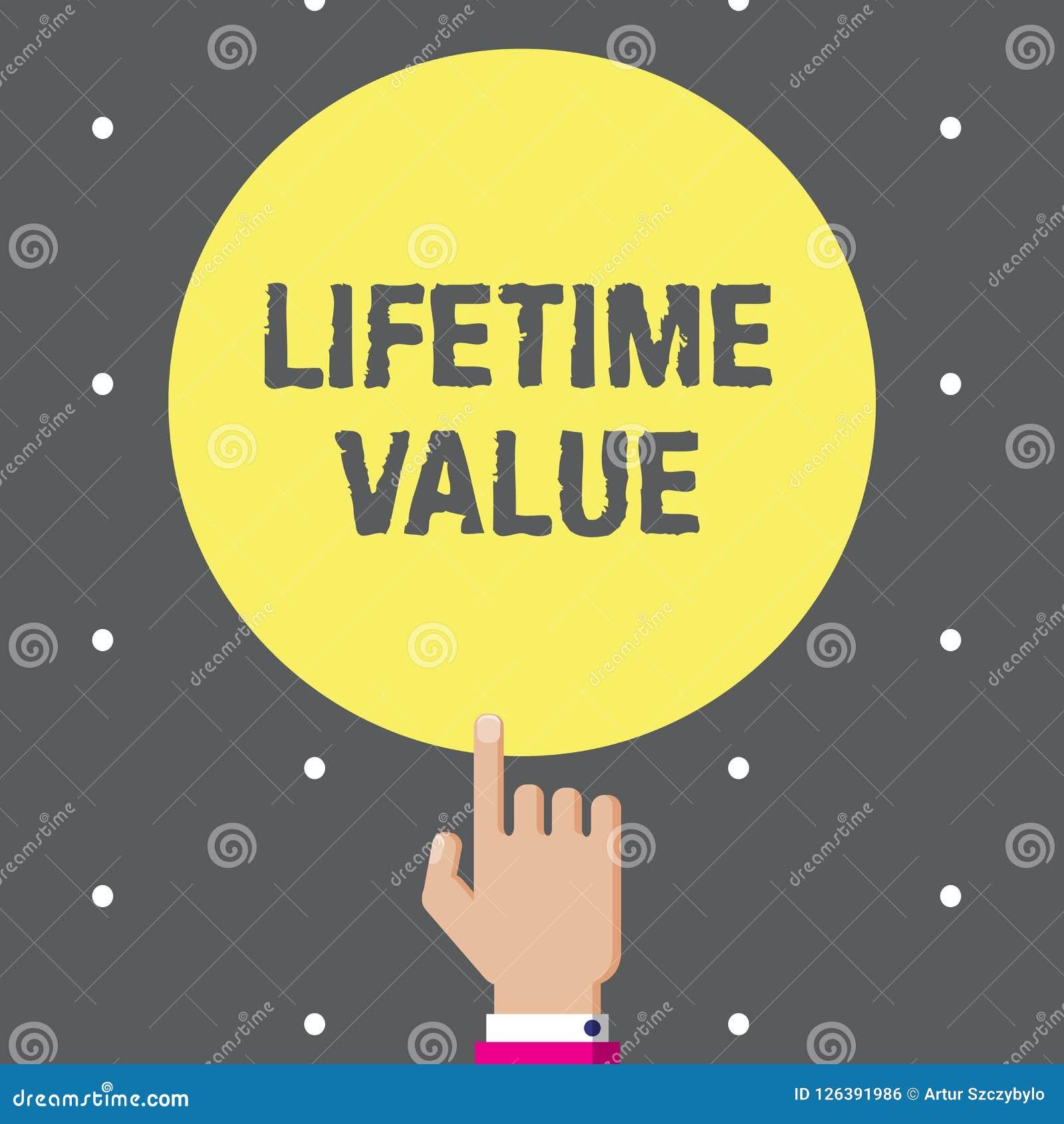 Conceptuele hand die tonend Levenwaarde schrijven De Waarde van de bedrijfsfototekst van de klant over het leven van de zaken