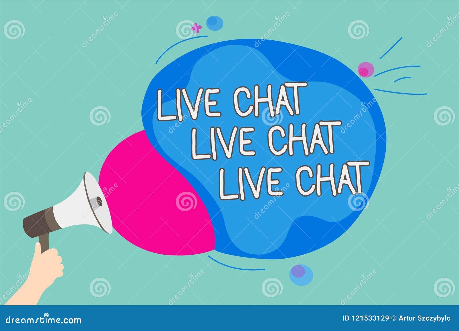 Conceptuele hand die tonend Live Chat Live Chat Live-Praatje schrijven Bedrijfsfoto demonstratie die met de verwanten van mensenv