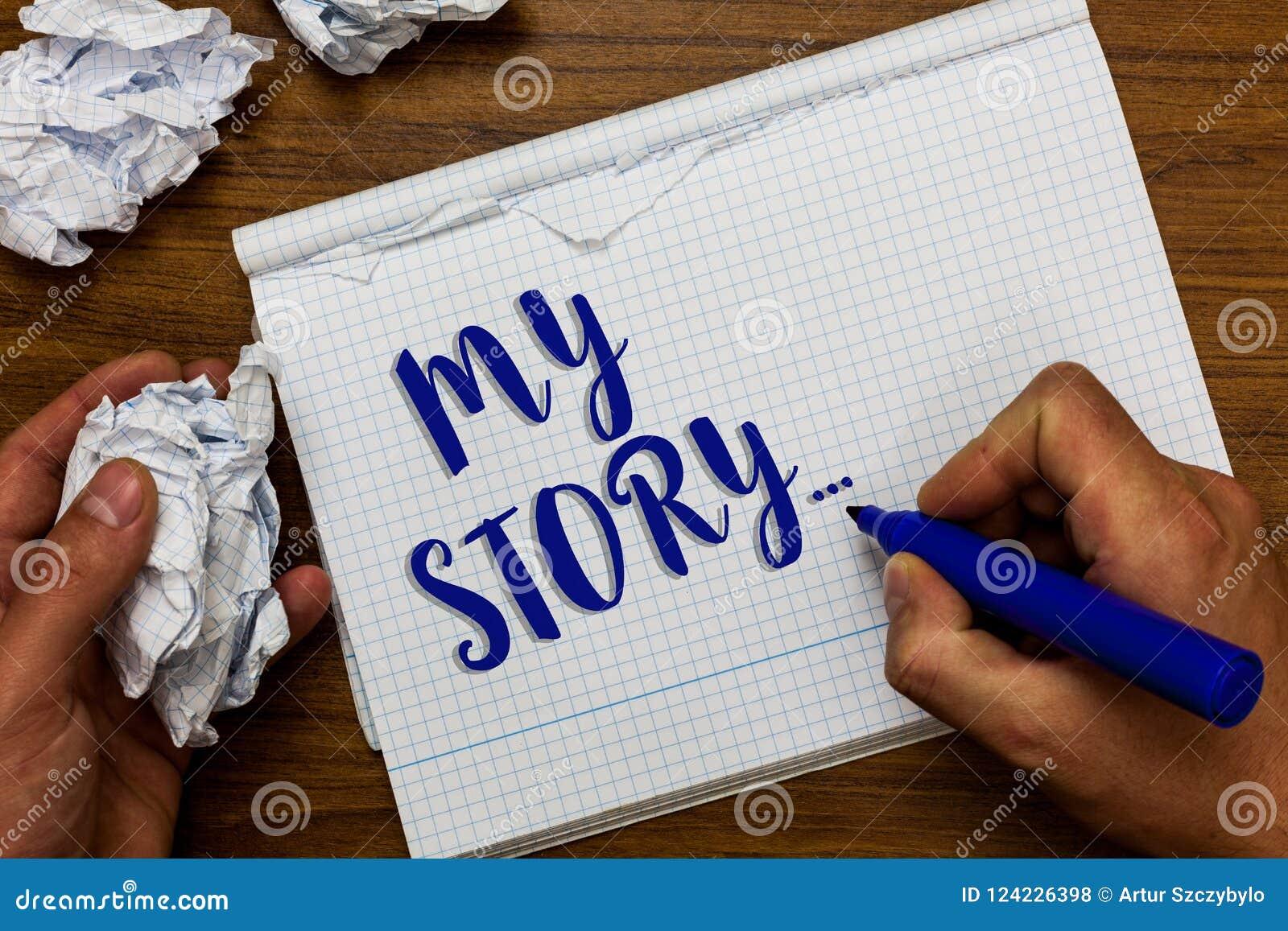 Conceptuele hand die tonend Mijn Verhaal schrijven Bedrijfsfoto die vertellend iemand of lezers demonstreren over hoe u uw leven