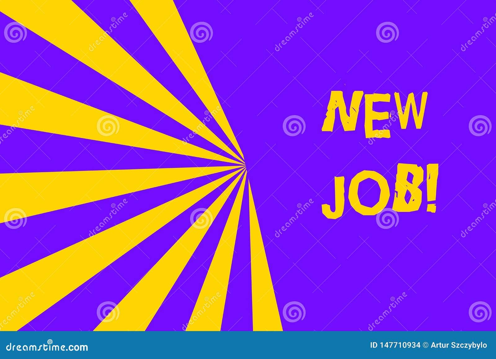 Conceptuele hand die tonend Nieuwe Baan schrijven Bedrijfsfototekst die onlangs positie van reguliere arbeid hebben betaald
