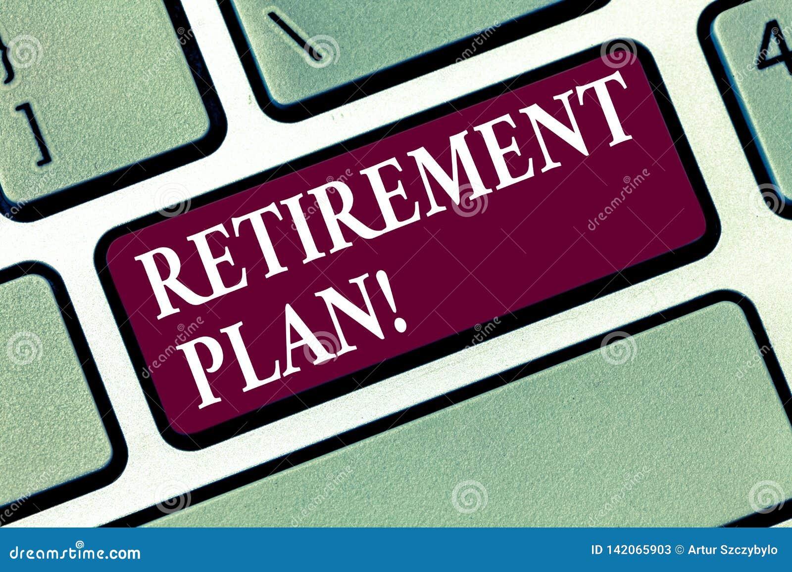Conceptuele hand die tonend Pensioneringsplan schrijven De Besparingeninvesteringen van de bedrijfsfototekst die inkomens voor ve