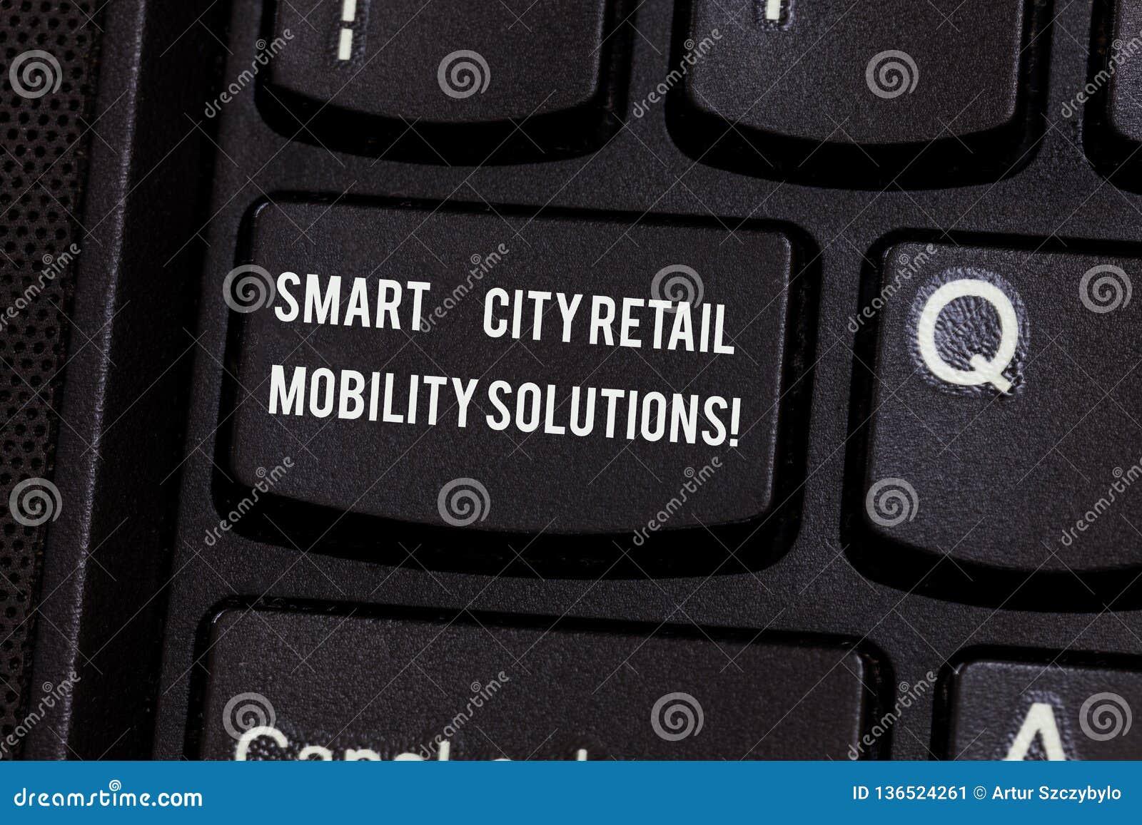 Conceptuele hand die tonend Smart City Kleinhandelsmobiliteitsoplossingen schrijven De bedrijfsfototekst verbond technologische m