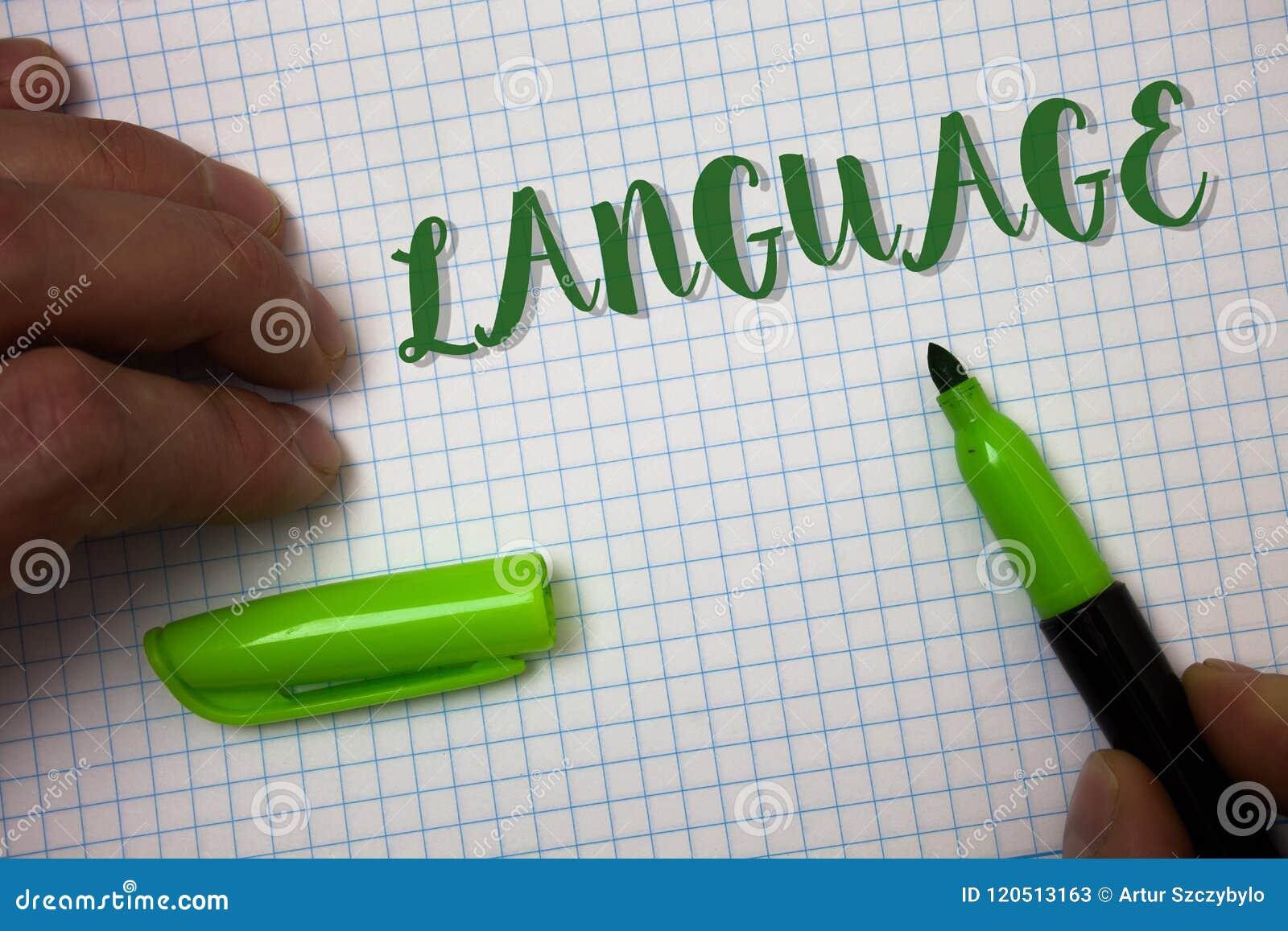 Conceptuele hand die tonend Taal schrijven De Methode van de bedrijfsfototekst van de menselijke mededeling Gesproken Geschreven