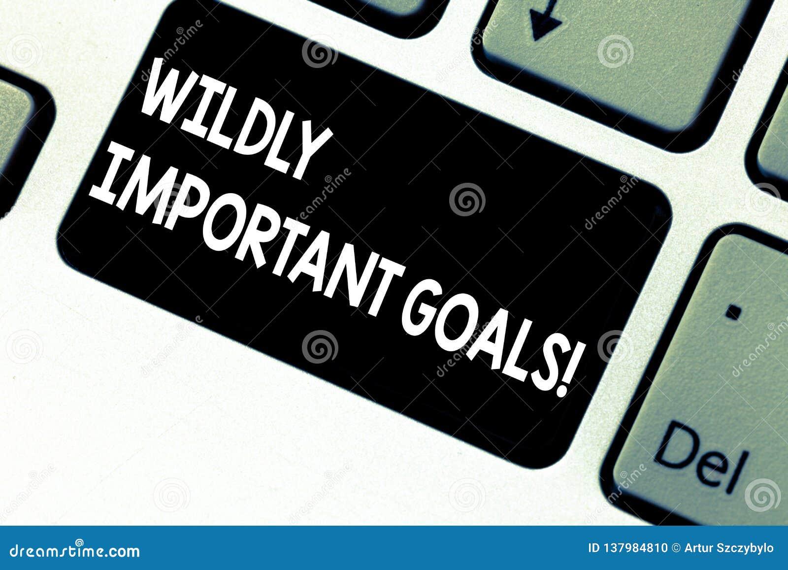 Conceptuele hand die wild tonend Belangrijke Doelstellingen schrijven Bedrijfsfoto die belangrijkste doelstelling demonstreren di