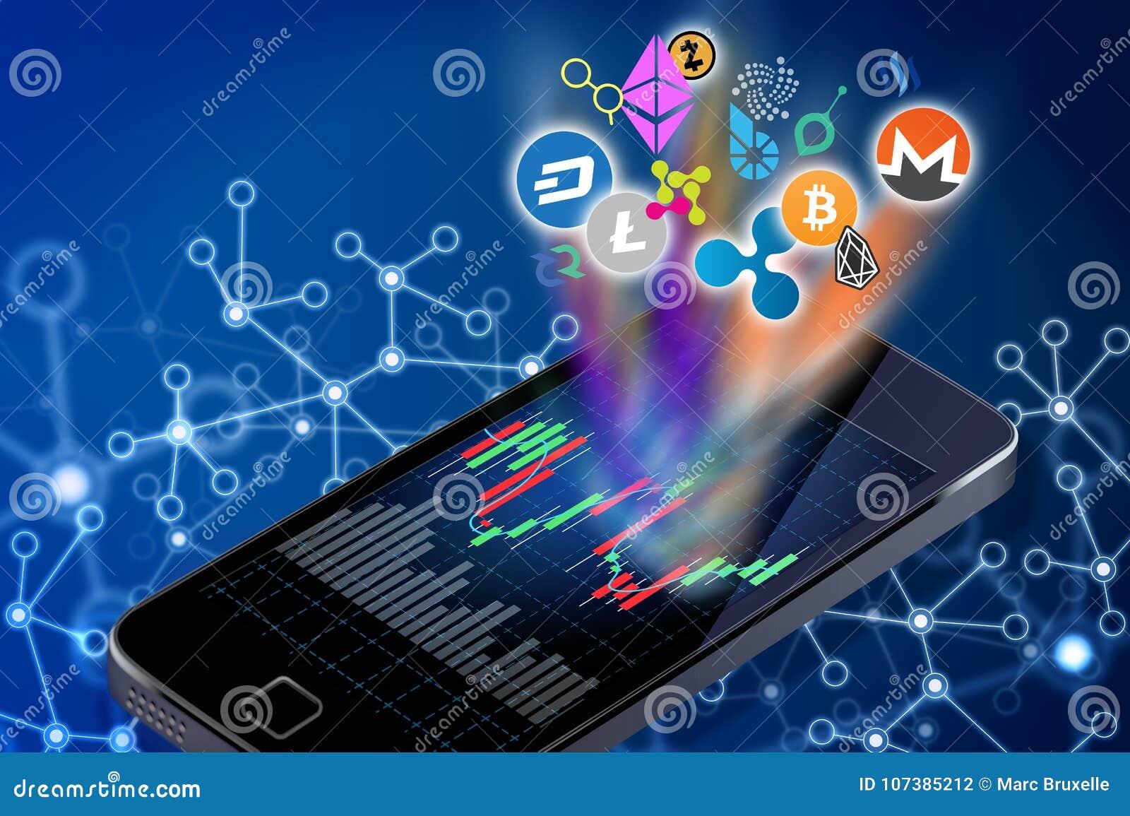 Conceptuele illustratie van cryptocurrencyemblemen die uit a komen