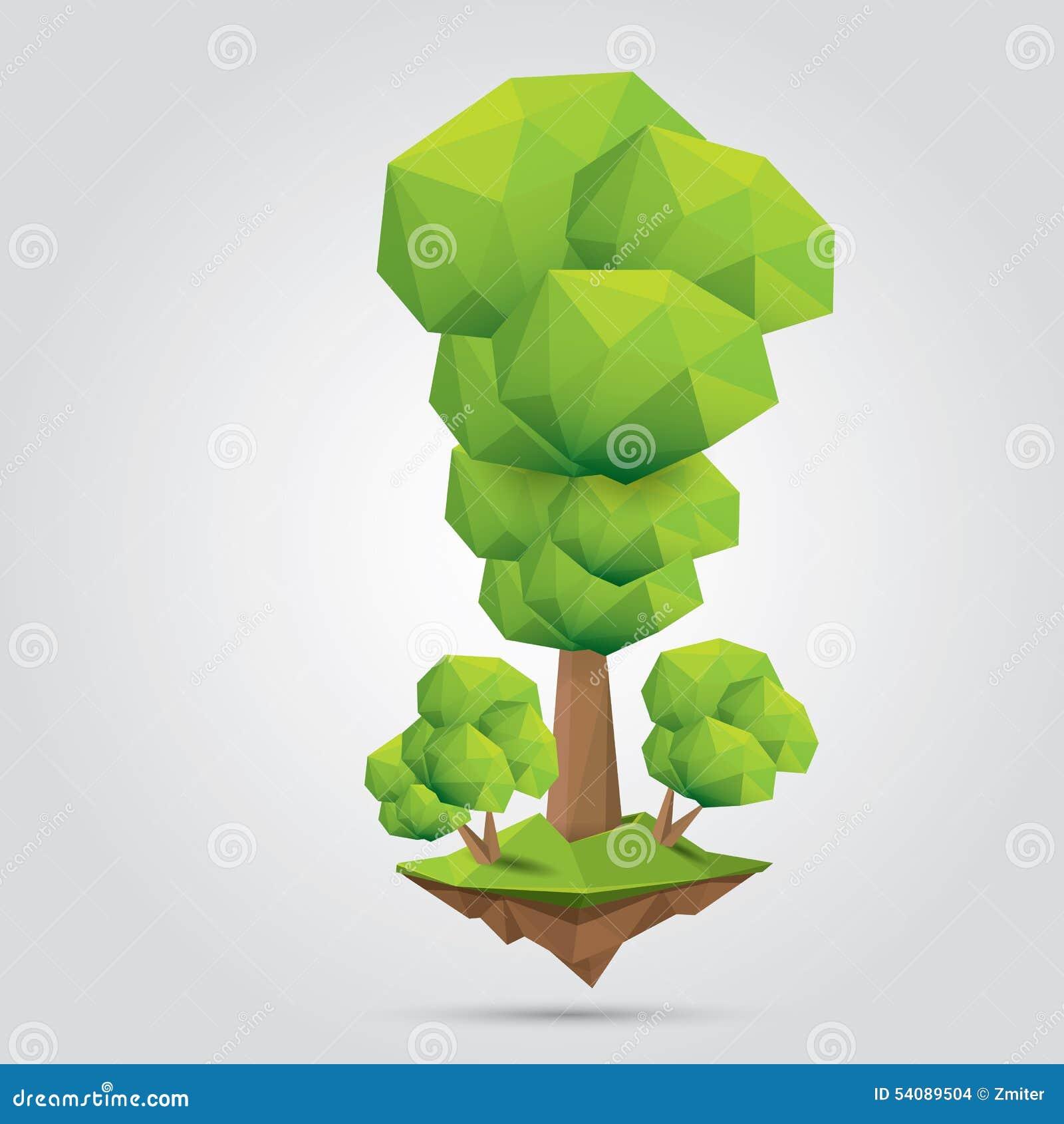 Conceptuele veelhoekige boom Vector illustratie