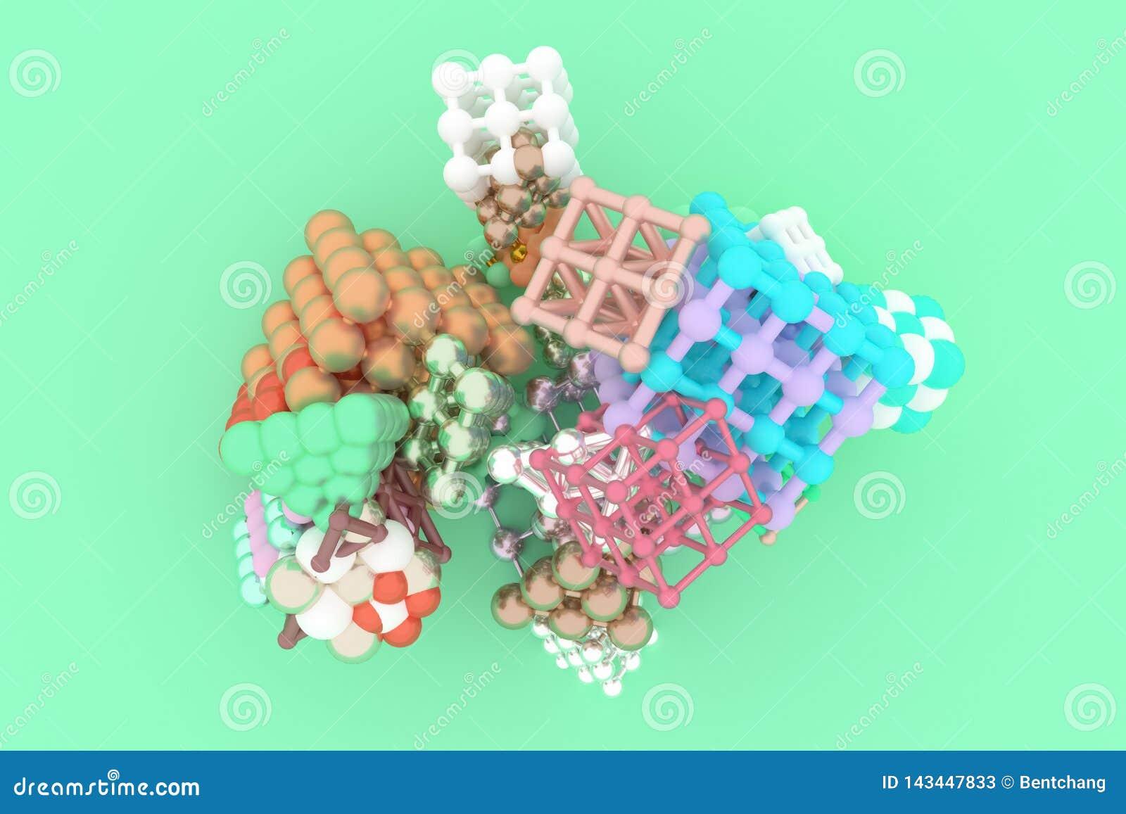 Concepture стиля молекулы, блокировать квадрат или пирамиды, для текстуры дизайна & предпосылки перевод 3d