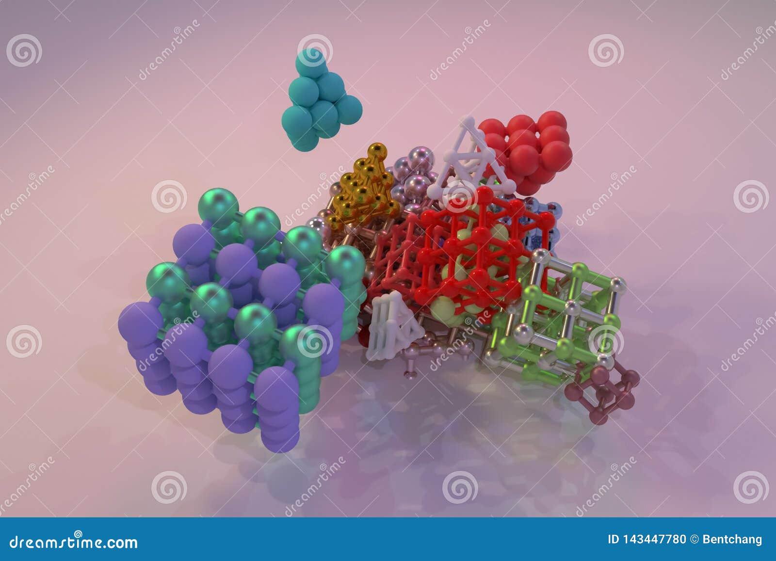 Concepture virtual geométrico, da molécula do estilo, quadrado bloqueado ou pirâmides para a textura do projeto, fundo 3d rendem