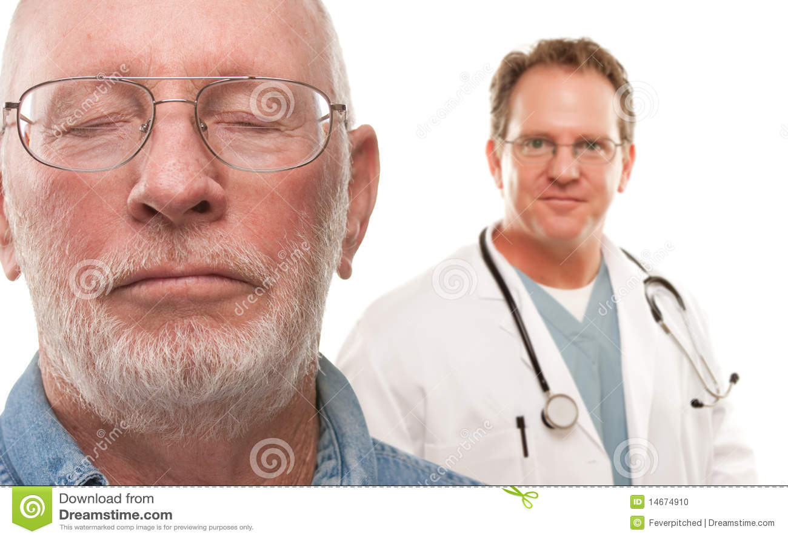 Concerned Senior Man with Doctor Behind