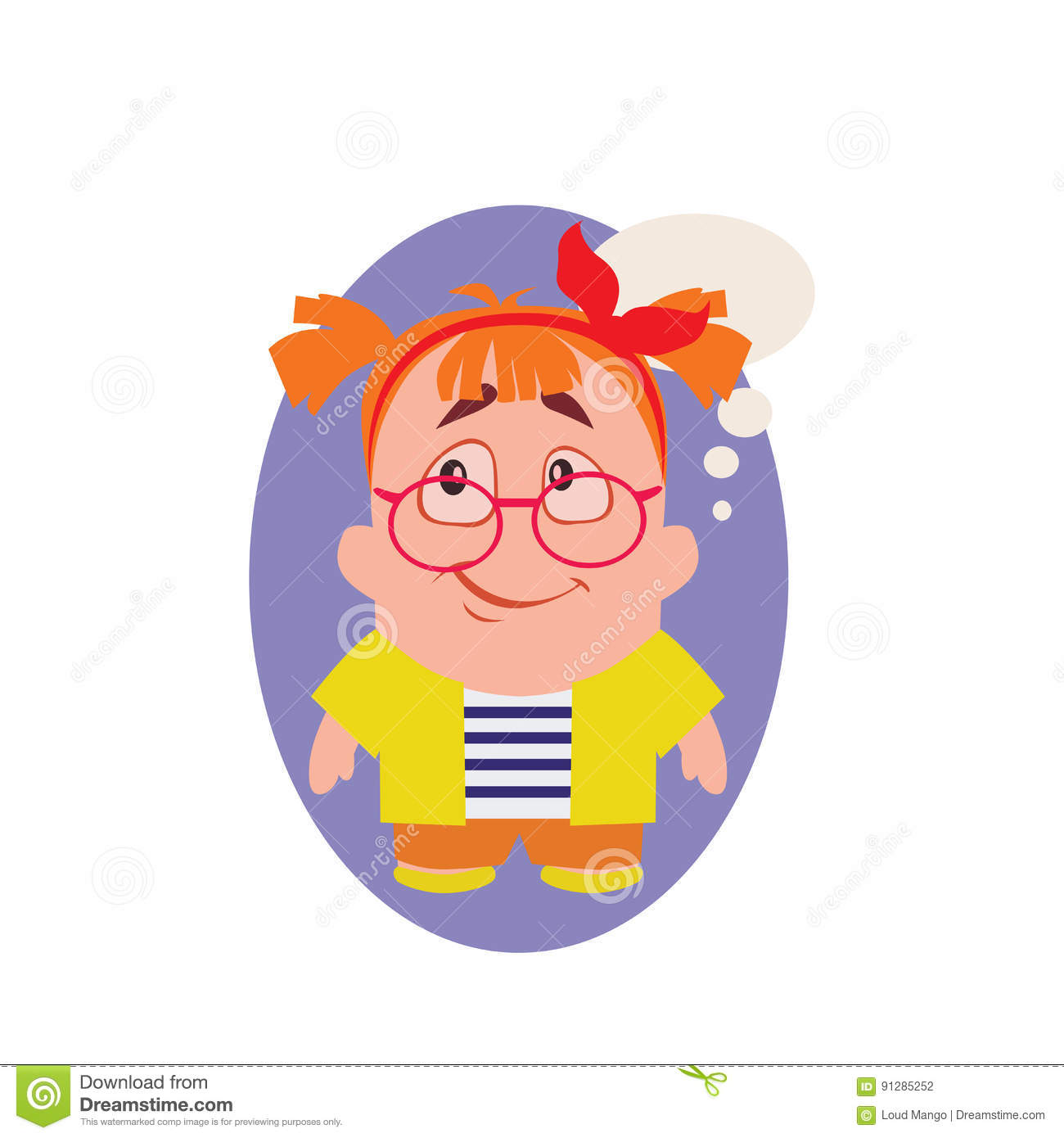 Concerned, Smiling and Avatar of Geek Little Person Cartoon Character in Flat Vector