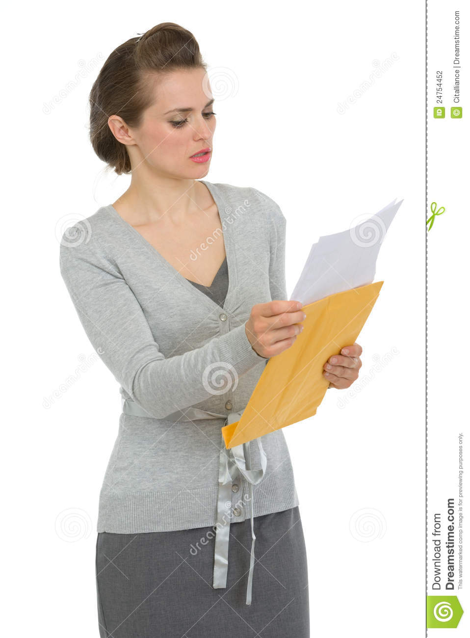 Concerned Woman Reading Letter Stock Photography Image