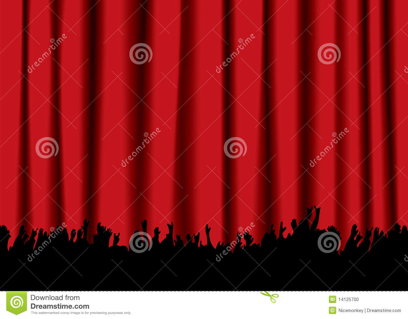 Red stage curtain with lights - Stage Curtain Silhouette Viewing Gallery