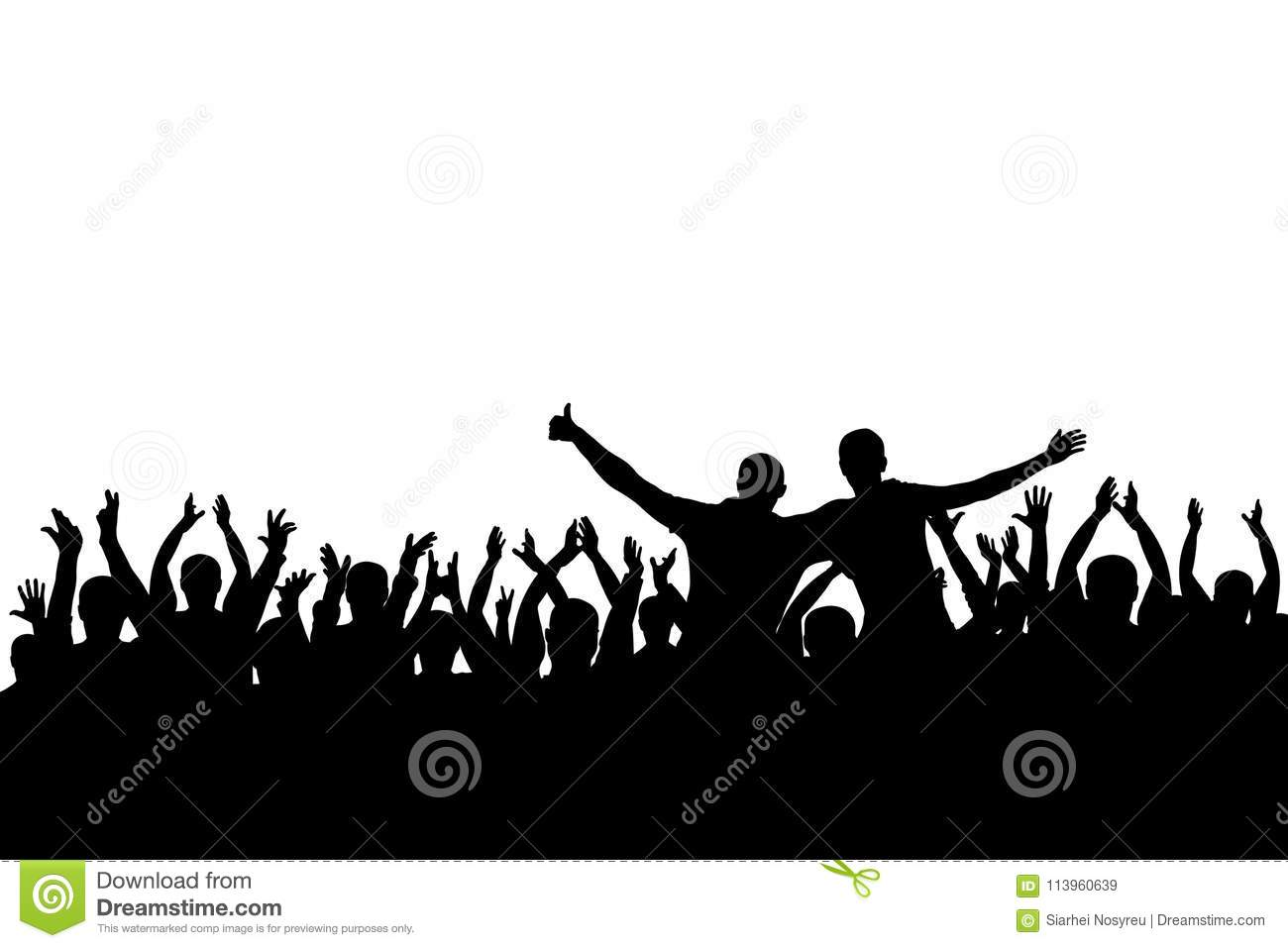 Concert, party. Applause crowd background silhouette, cheerful people. Funny cheering, isolated