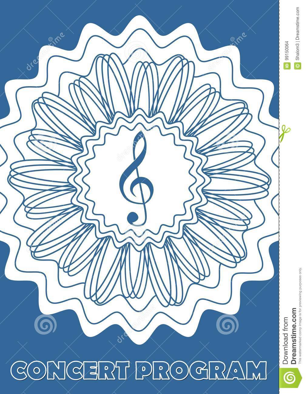 concert program cover template with treble clef in abstract star
