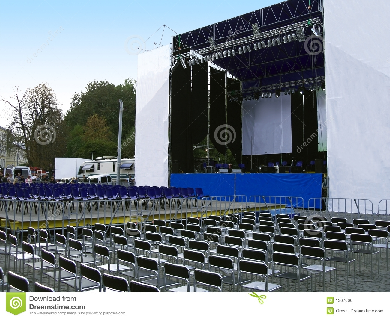 Empty outdoor concert stage - Concert Stage Royalty Free Stock Image