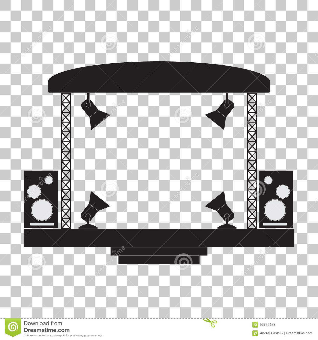 Concert Stage And Musical Equipment Transparent Background Stock