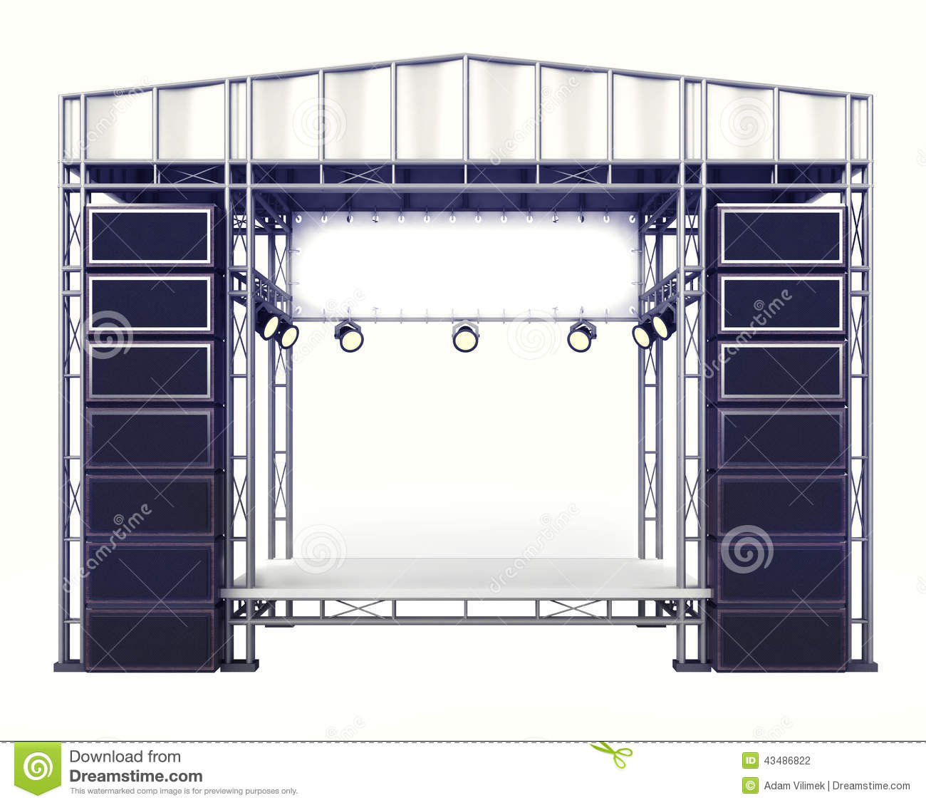 Staging Of Steel Images : Concert stage steel construction with speakers on white