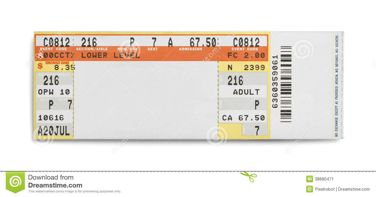 concert ticket stock image image 38680471