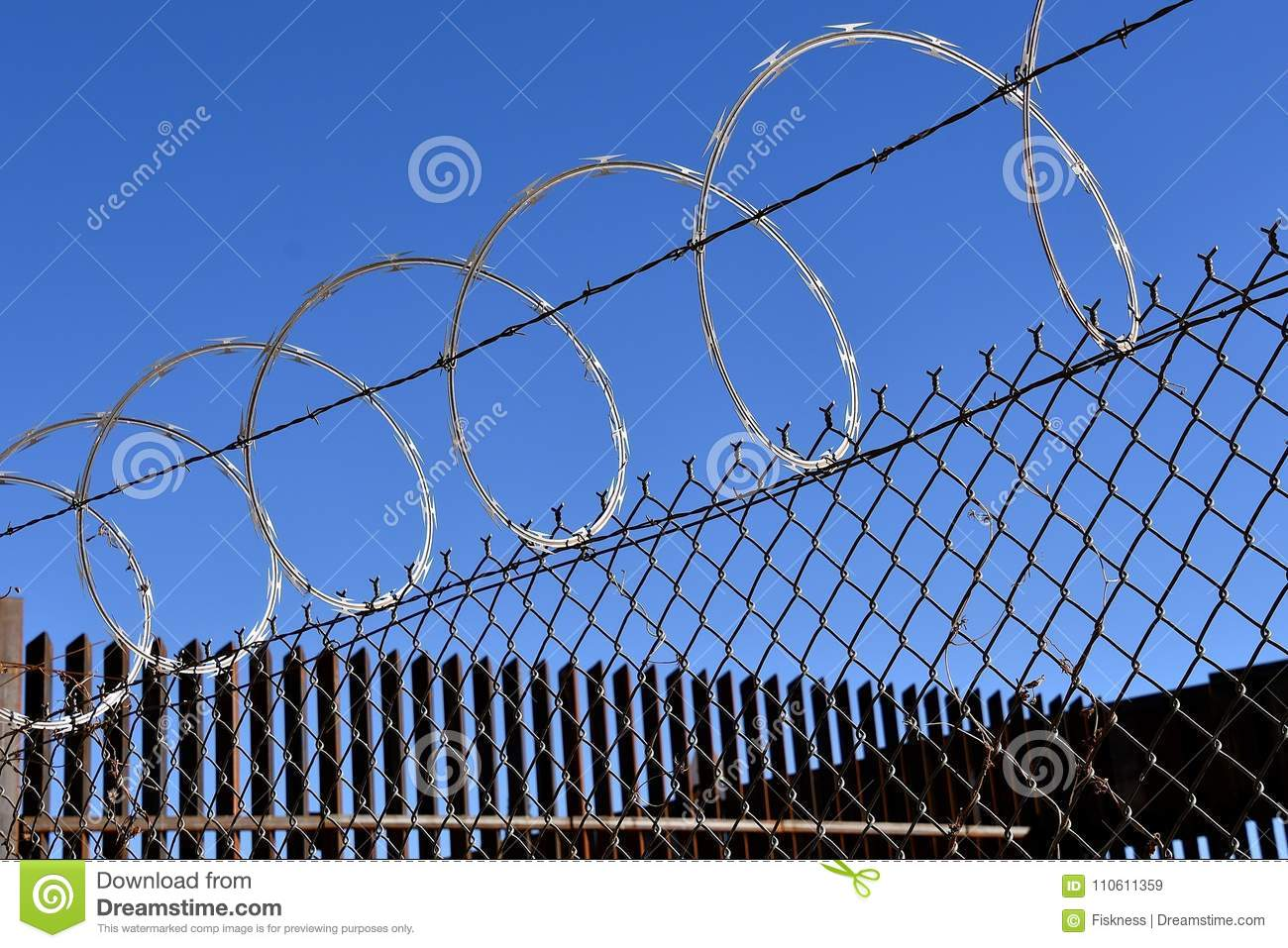 Concertina Fence Wire In Prisons Stock Image - Image of hidden ...