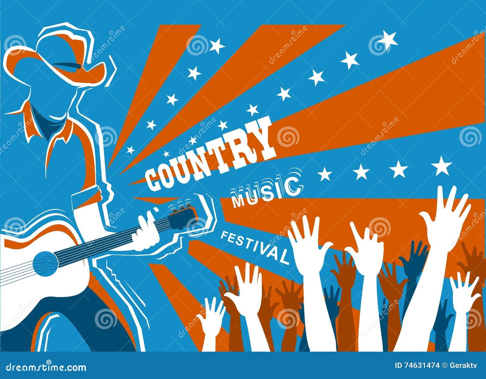 Concerto di musica country con il musicista che gioca chitarra