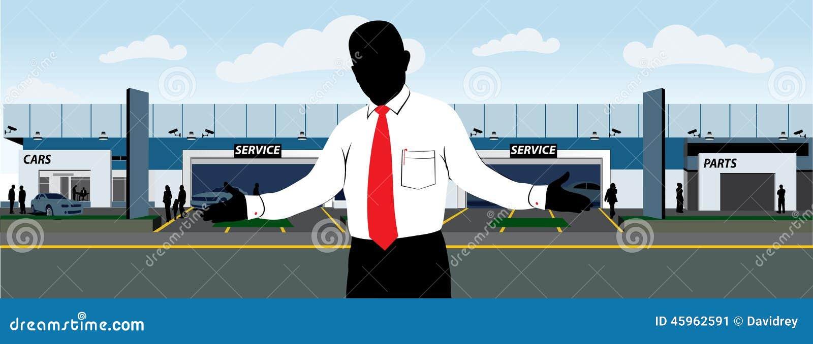 concessionnaire automobile avec le vendeur illustration de vecteur illustration du. Black Bedroom Furniture Sets. Home Design Ideas