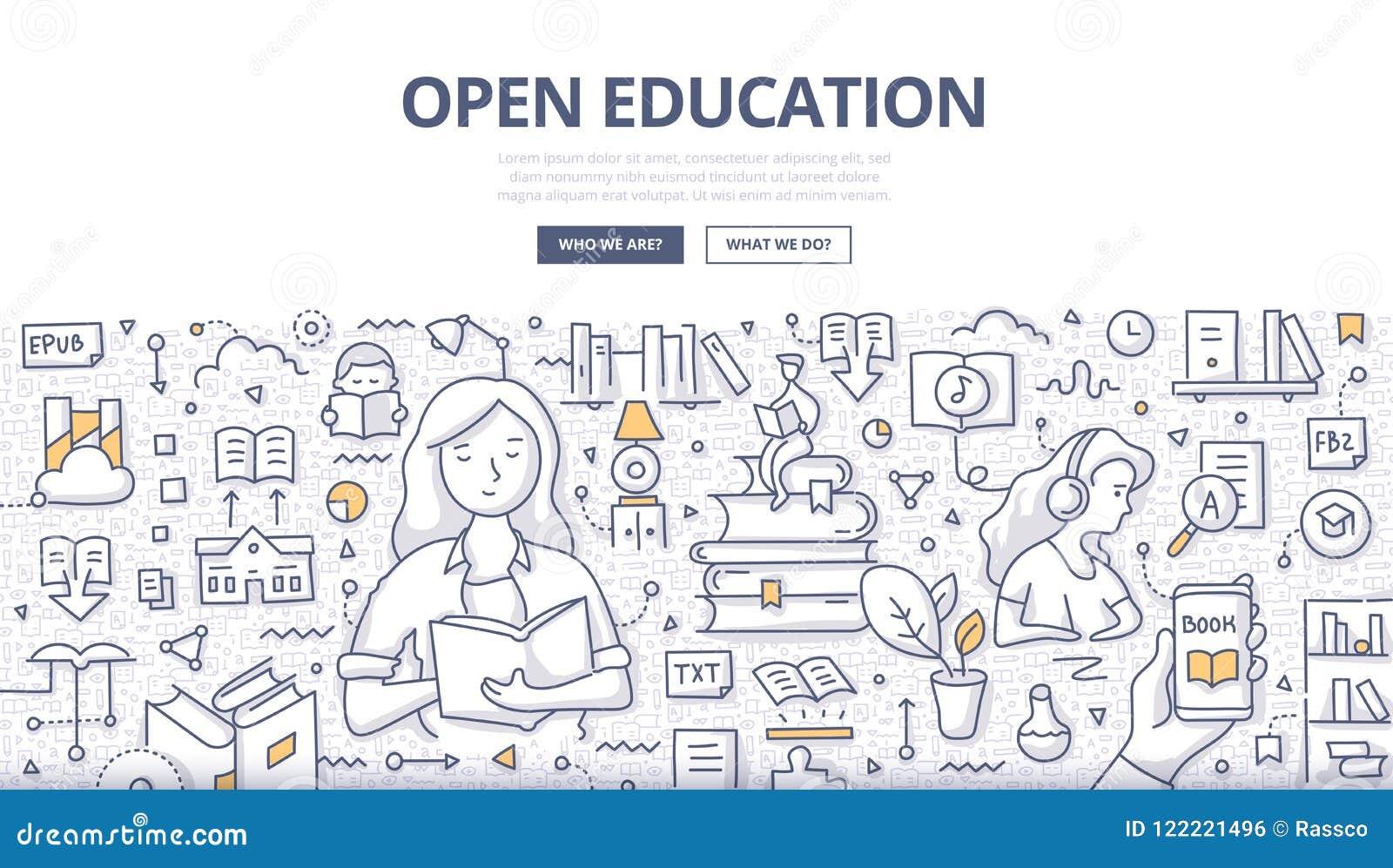 Concetto aperto di scarabocchio di istruzione